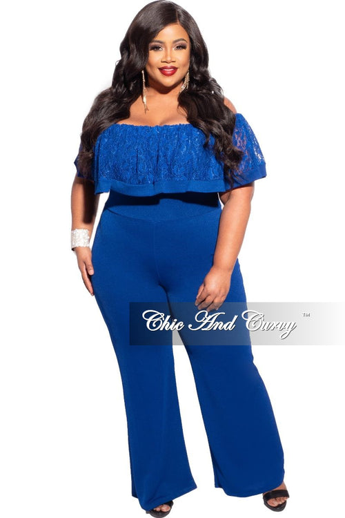 New Plus Size Off the Shoulder Lace Overlay Jumpsuit in Royal Blue