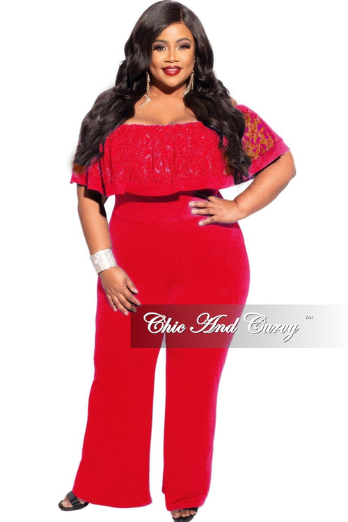 New Plus Size Off the Shoulder Lace Overlay Jumpsuit in Red