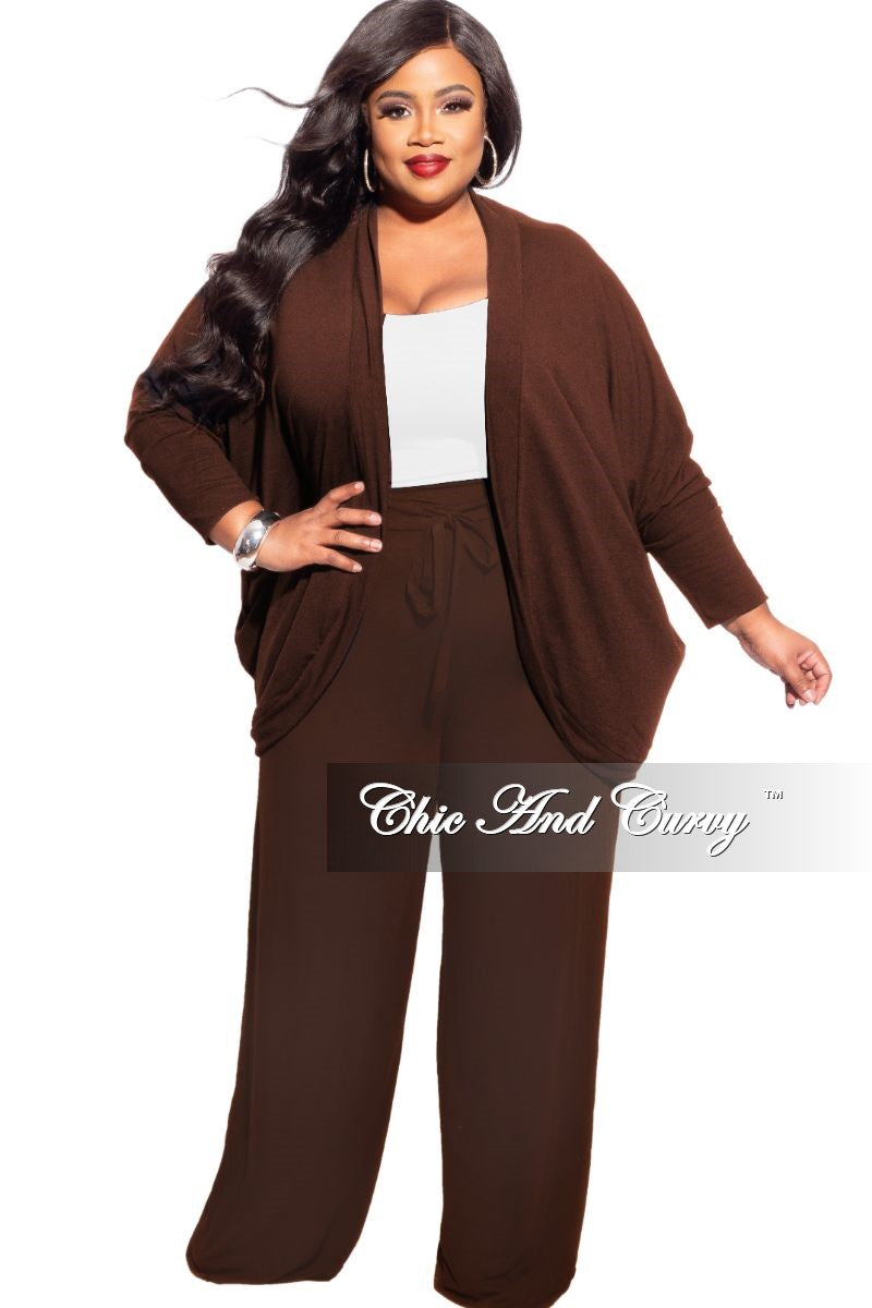 New Plus Size 2-Piece Cardigan and Palazzo Pants Set in Brown