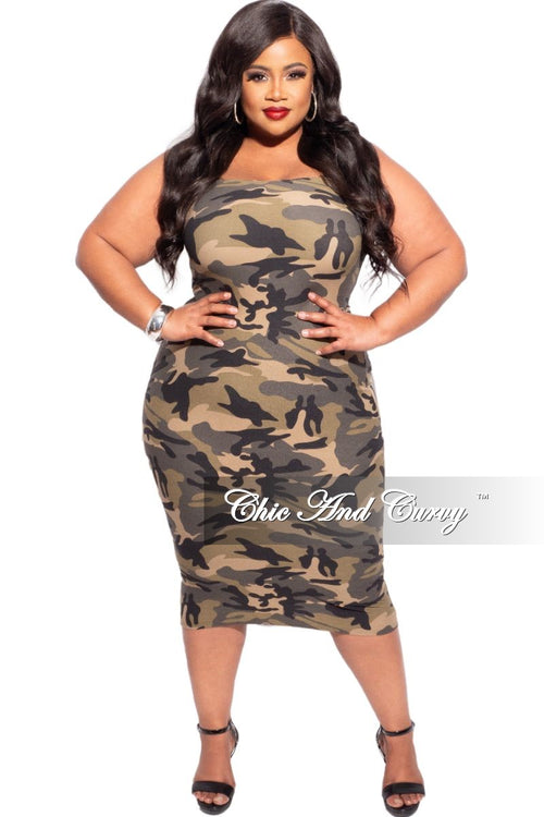 New Plus Size Strapless Dress/Pencil Skirt in Light Camouflage