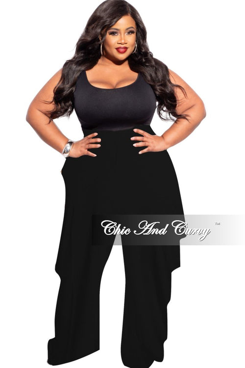 New Plus Size Pants with Side Ruffles in Black