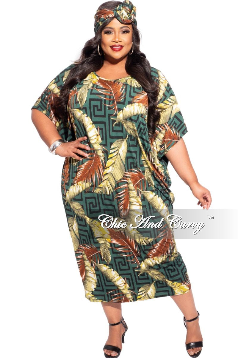 New Plus Size Head Wrap and Oversize Dress Set in Olive and Brown Leaf Print