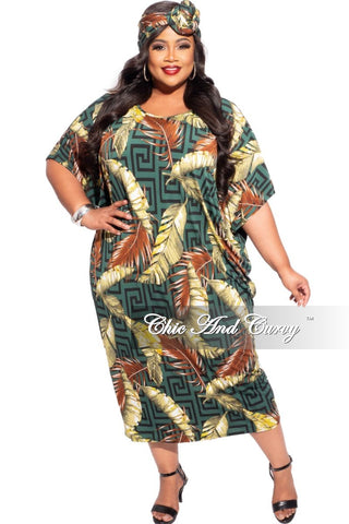 New Plus Size Pocket BabyDoll Dress in Orange/Blue Tie Dye Print
