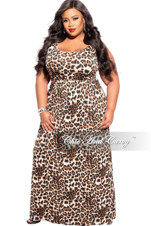 New Plus Size Sleeveless Pocket Maxi Dress in Dark Leopard Print
