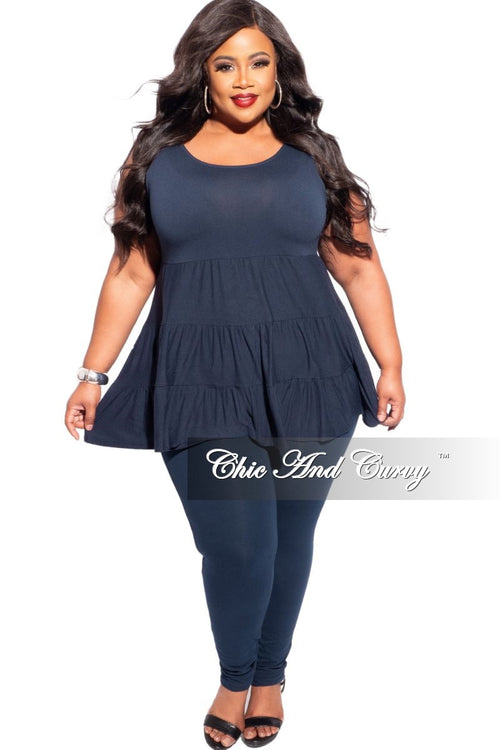 New Plus Size 2-Piece Sleeveless 3 Tiered Baby Doll Top and Leggings Set in Navy