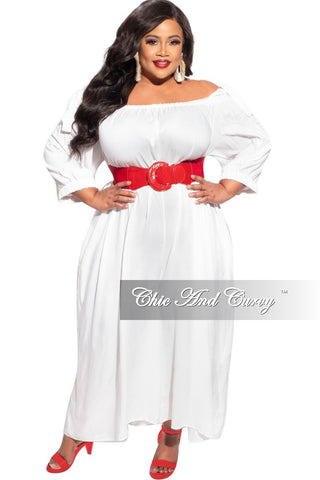 Final Sale Plus Size Button Tie Balloon Dress in Off White