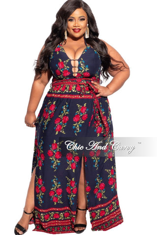 Final Sale Plus Size Spaghetti Strap Long Dress in Ivory Floral Print