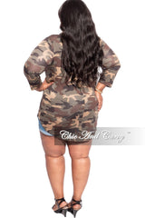 New Plus Size Top in Camouflage with Round Neck or V-Neck