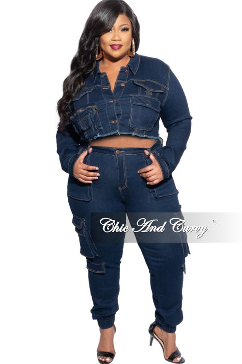 New Plus Size Crop Cargo Jacket in Dark Denim & Jeans