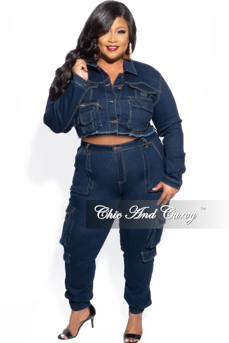 New Plus Size Crop Cargo Jacket & Jeans Set in Dark Denim