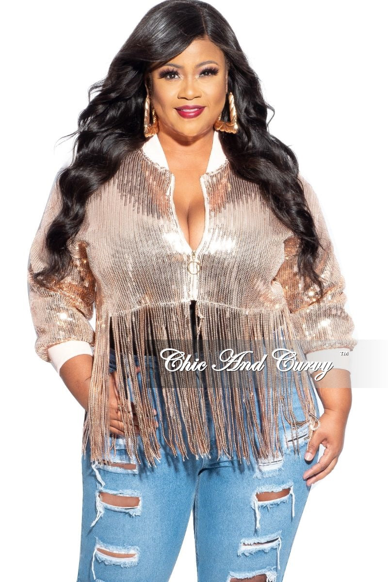 Final Sale Plus Size Sequin Cropped Jacket Rose Gold