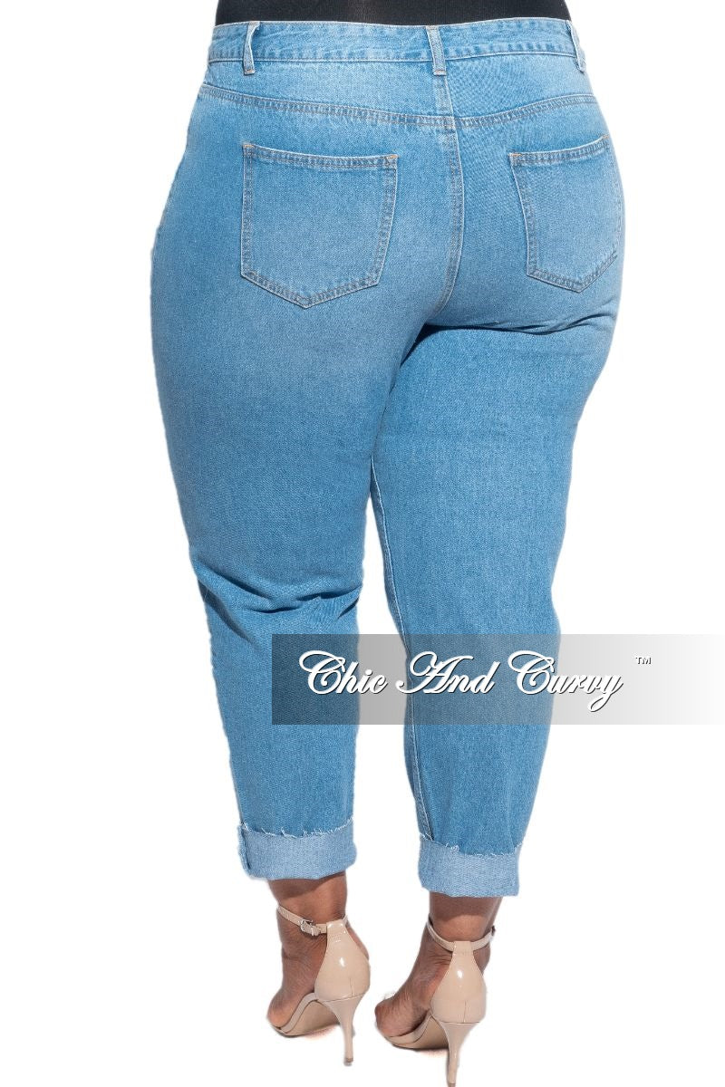 Final Sale Plus Size Distressed Jeans with Cutouts in Denim
