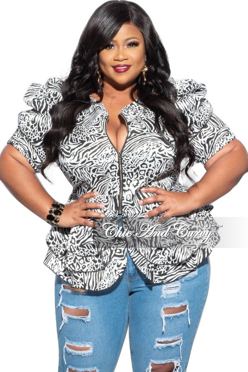 New Plus Size Pleated Puff Sleeve Peplum Jacket in Black & White Print