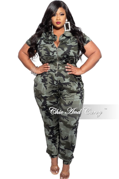 New Plus Size Zip Pocket Jumpsuit in Dark Camouflage with Matching Mask
