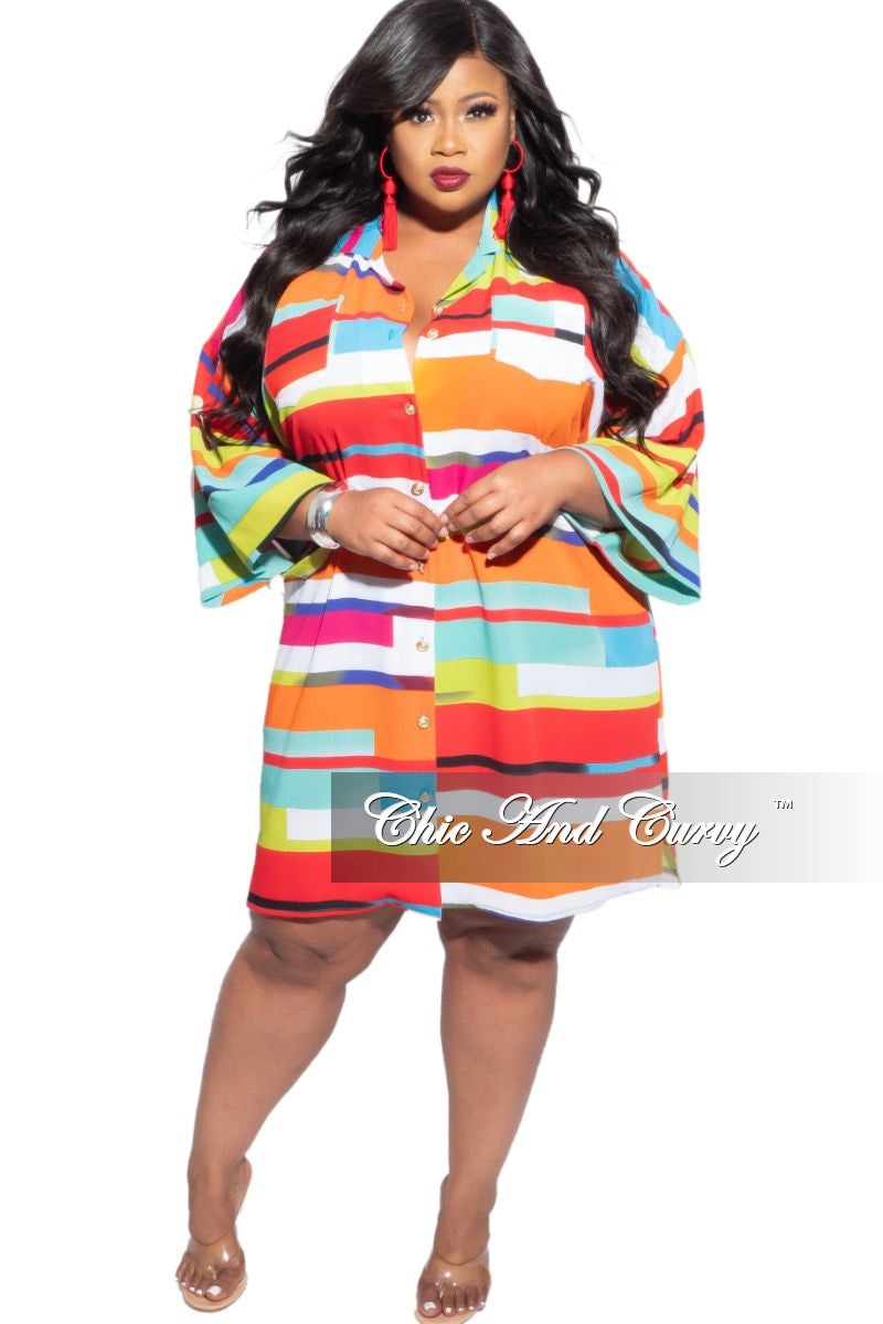 New Plus Size Tie Shirt Dress in Multi-Color Print