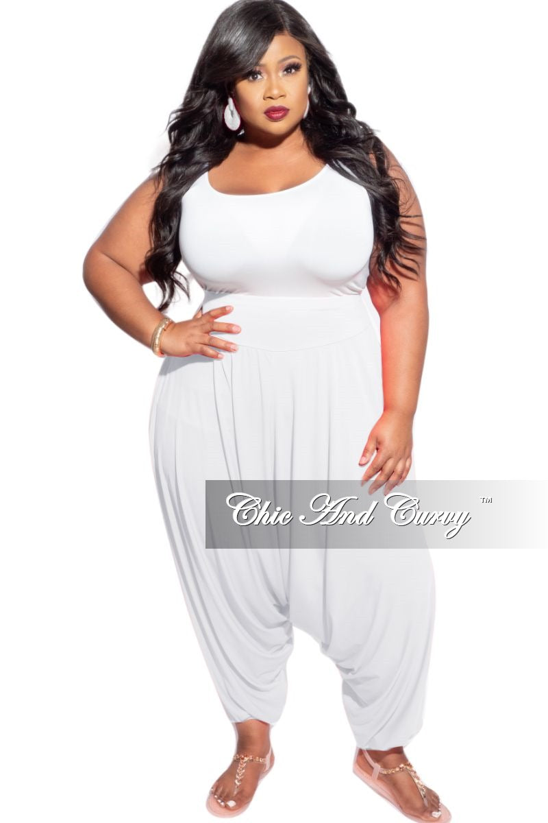 Final Sale Plus Size Harem Pants in White