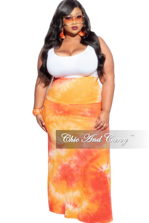 New Plus Size Maxi Skirt in Orange & Yellow Tie Dye Print