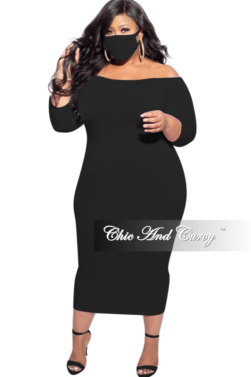 New Plus Size Off the Shoulder BodyCon Dress in Black with Matching Mask