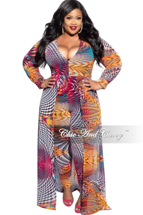 Final Sale Plus Mesh Attached Skirt Jumpsuit in Multi-Color Design Print