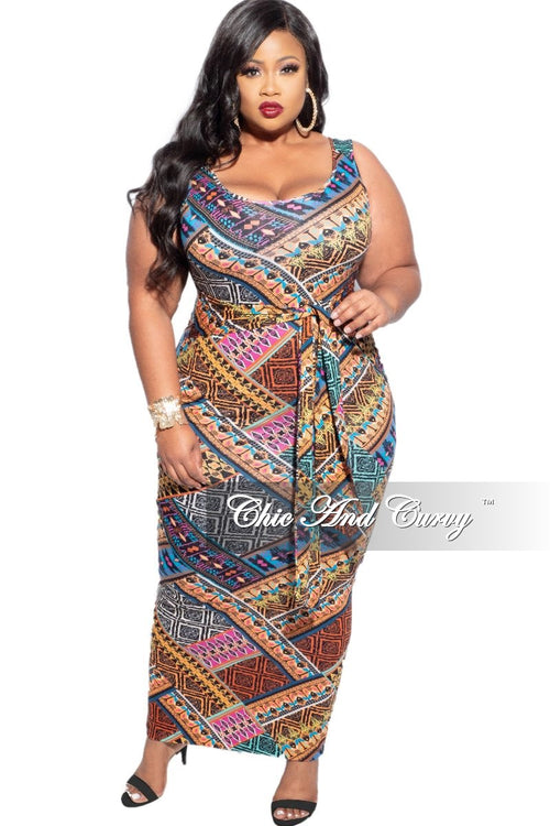 New Plus Size BodyCon Tank Dress with Attached Tie In Multi-Color Print