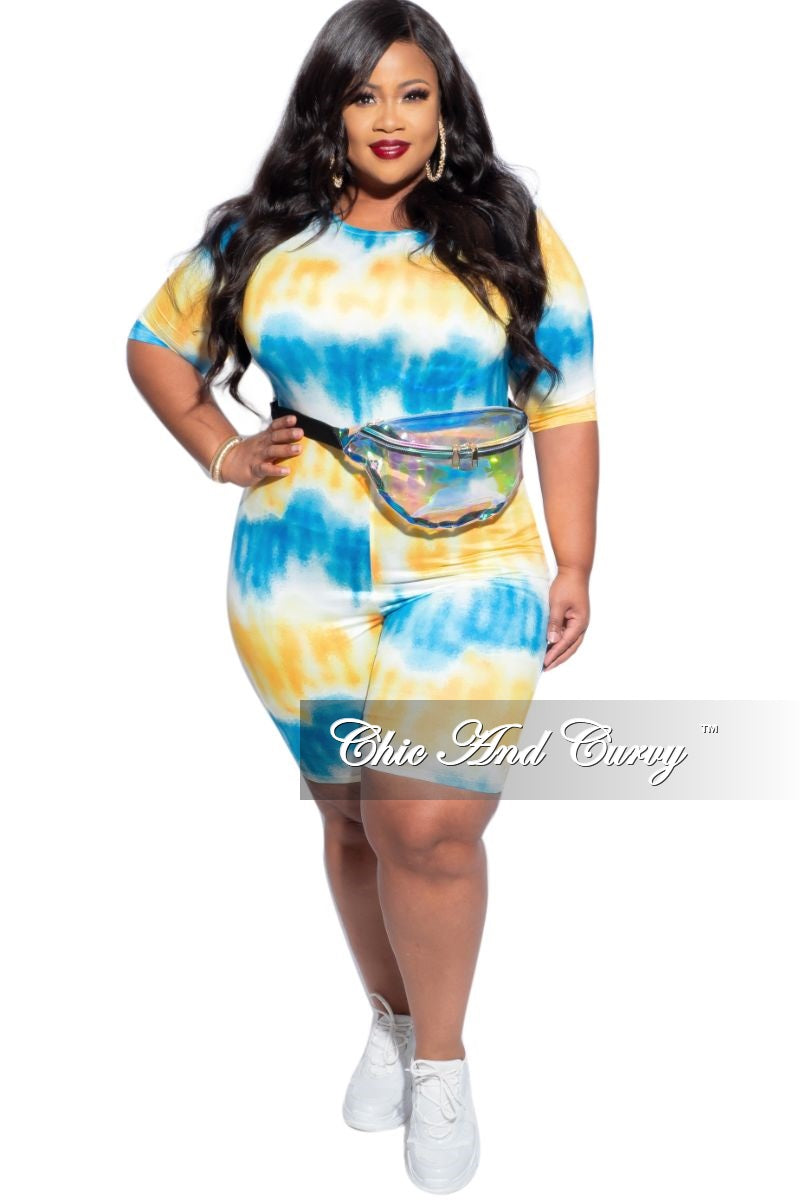 New Plus Size Romper in Yellow and Blue Tie Dye Print