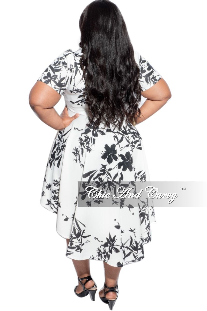 Final Sale Plus Size High Low Dress in Black & Ivory Print