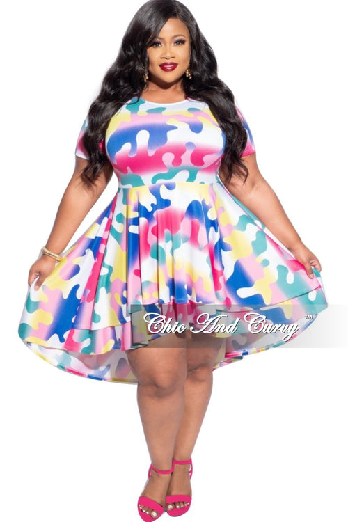 Final Sale Plus Size High Low Dress in Multi-Color Print