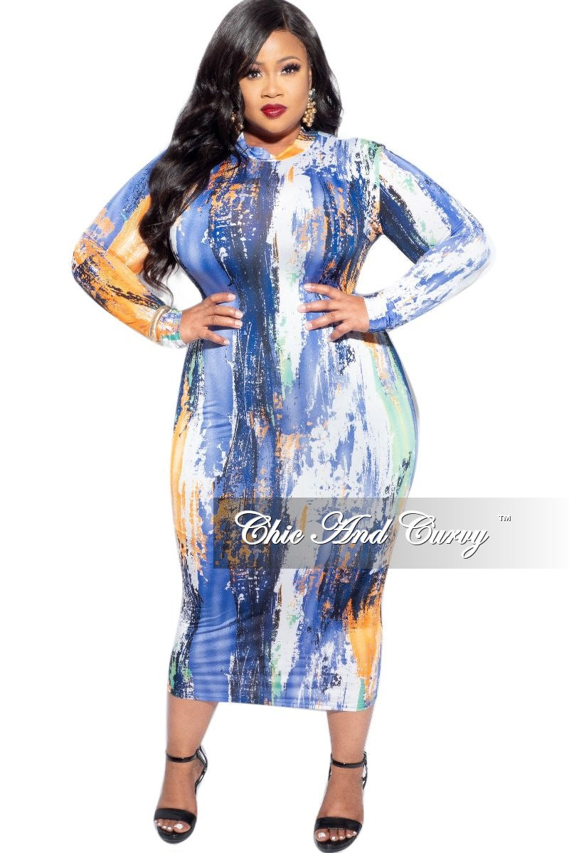 New Plus Size BodyCon Midi Dress in Multi-Color Print