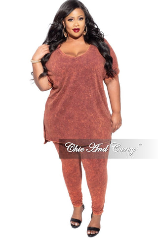 Final Sale Plus Size 2-Piece V-Neck T-Shirt and Bermuda Short Set in Grey
