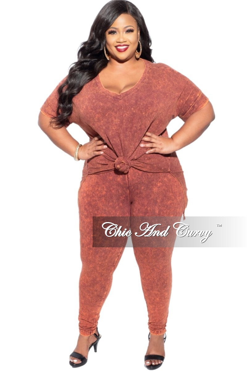 New Plus Size 2-Piece Faux Denim Set in Persimmon