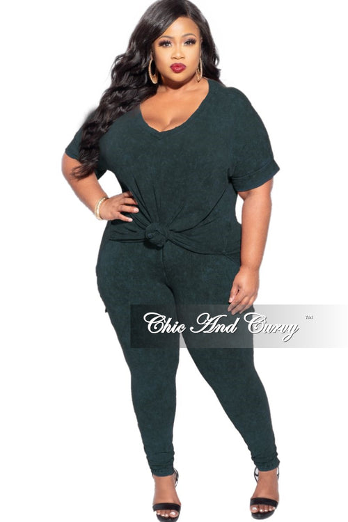 New Plus Size 2-Piece Faux Denim Set in Forest Green