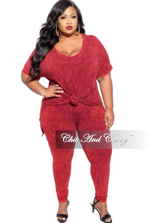 New Plus Size 2-Piece Faux Denim Set in Cabernet