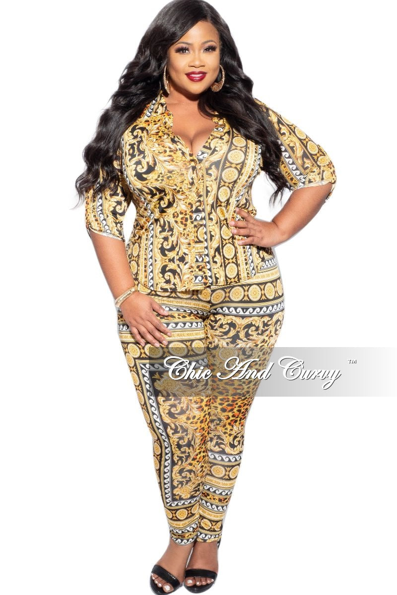 New Plus Size 2-Piece Collared Button Top and Pants Set in Gold & Black Print