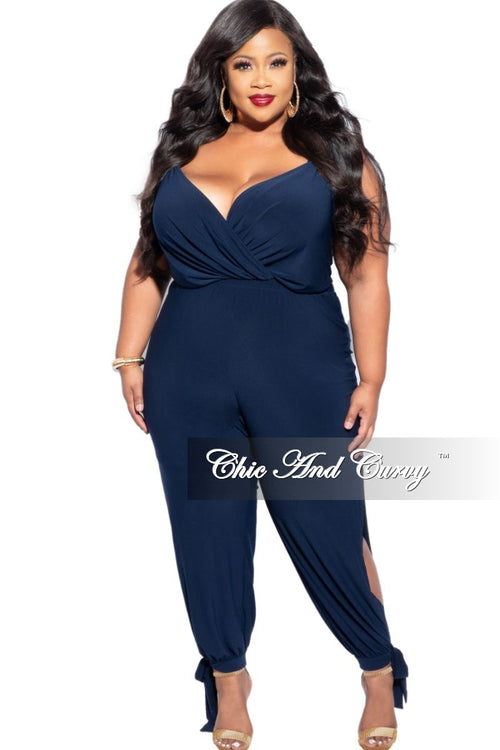 New Plus Size Jumpsuit with Spaghetti Straps & Split Legs in Navy