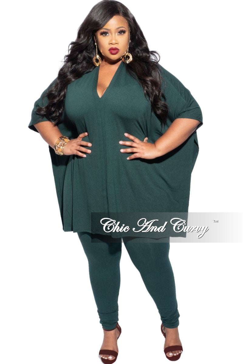New Plus Size 2-Piece V-Neck Tunic Top and Legging Set in Forest Green