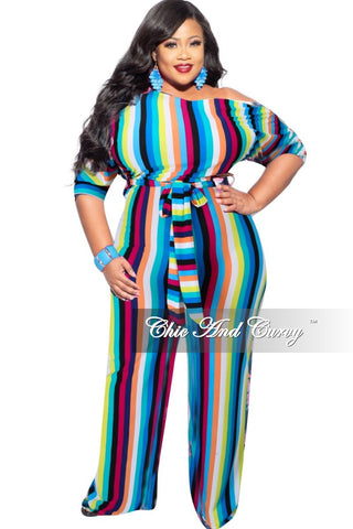 New Plus Size Zip Jumpsuit in Multicolor Design Print