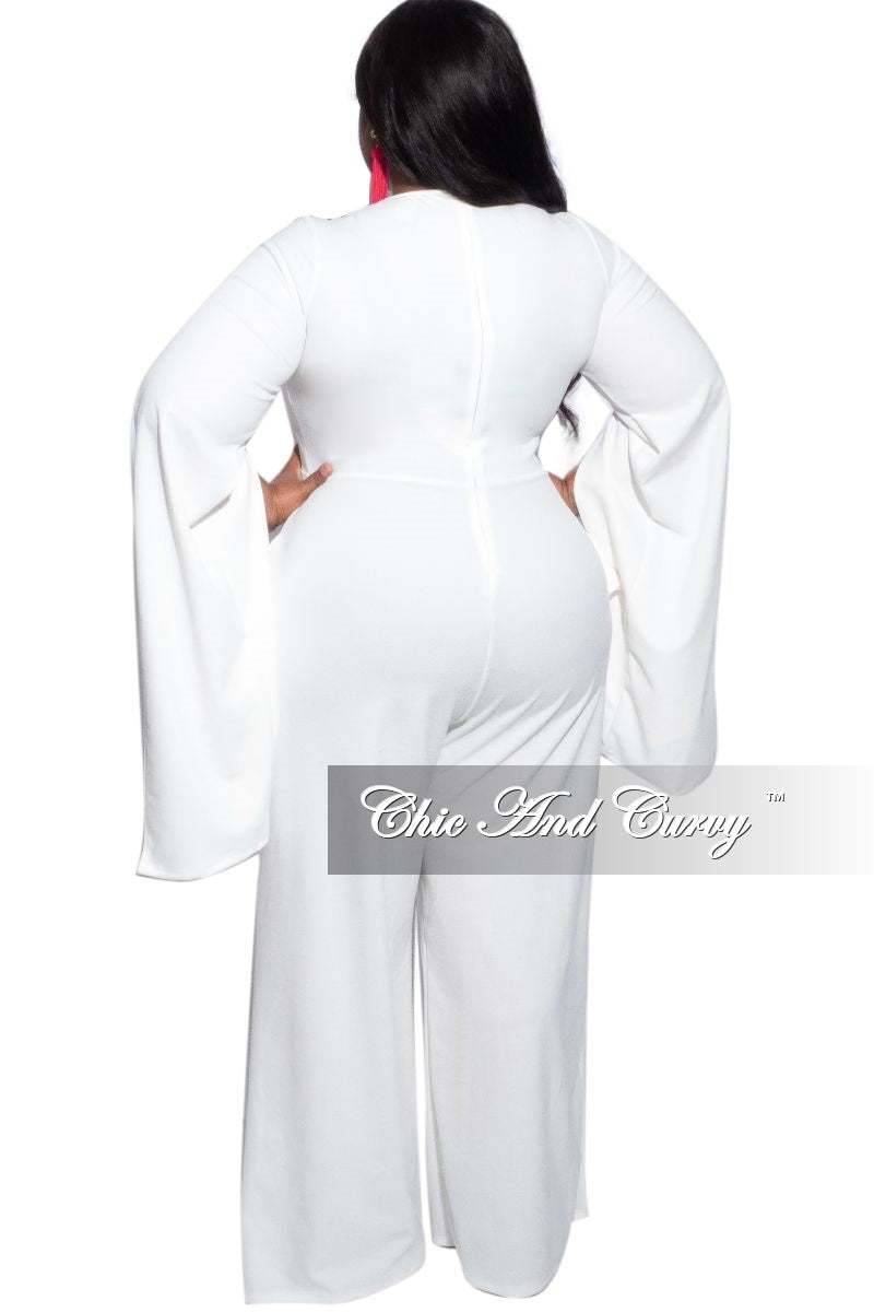 Final Sale Plus Size Exaggerated Split Sleeve Jumpsuit in Ivory
