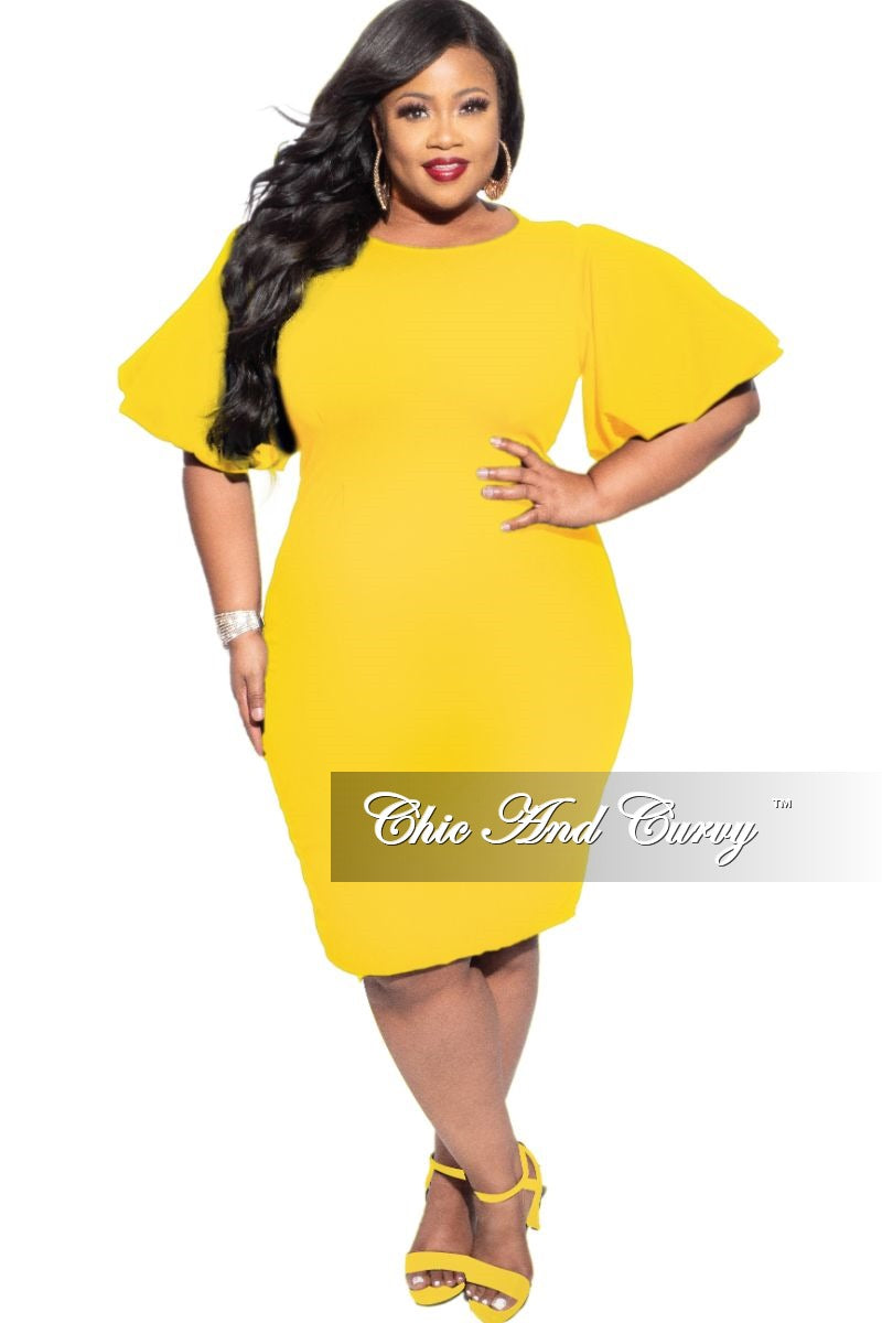 New Plus Size Bodycon Dress with Puffy Sleeves in Mustard