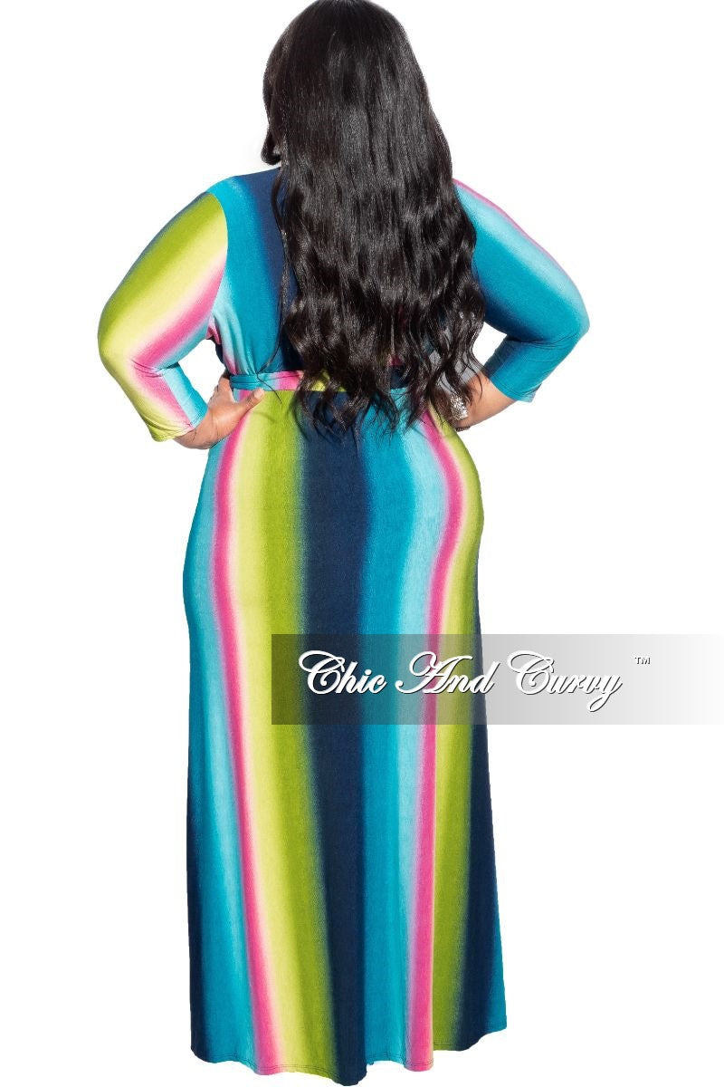 New Plus Size Faux Wrap Maxi Dress in Multi-Color Print