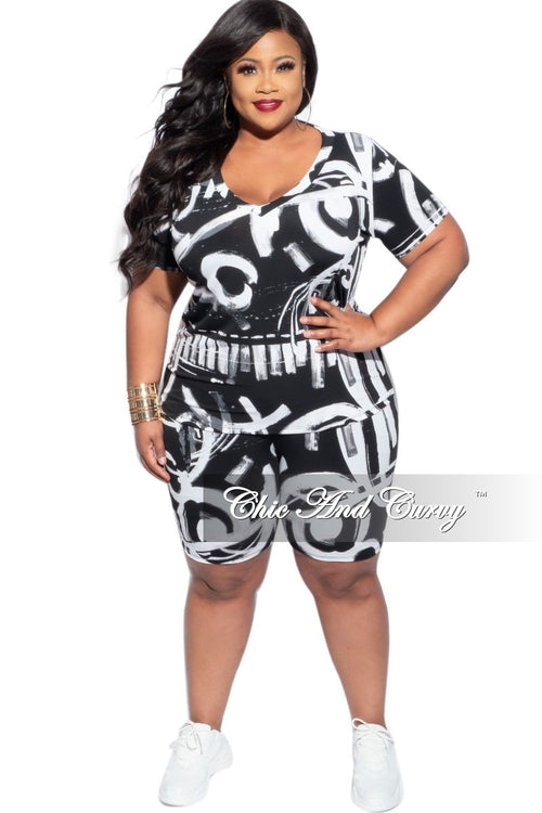 Final Sale Plus Size 3-Piece (Mask, V-Neck Shirt & Bermuda Short) Set in Black & White Spray Paint Print