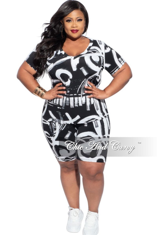 Final Sale Plus Size 2-Piece (V-Neck Shirt & Bermuda Short) Set in Black & White Spray Paint Print