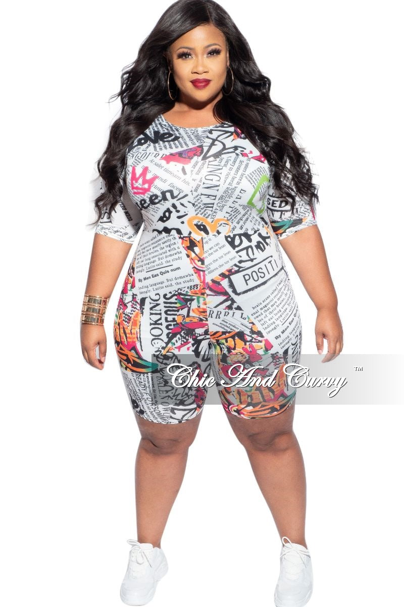 Final Sale Plus Size Romper in Multi-Color Print
