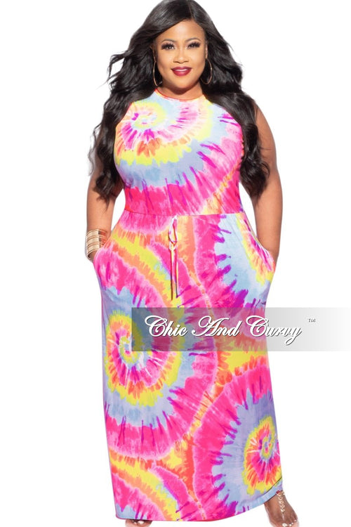 New Plus Size Sleeveless Maxi Dress in Neon Colors