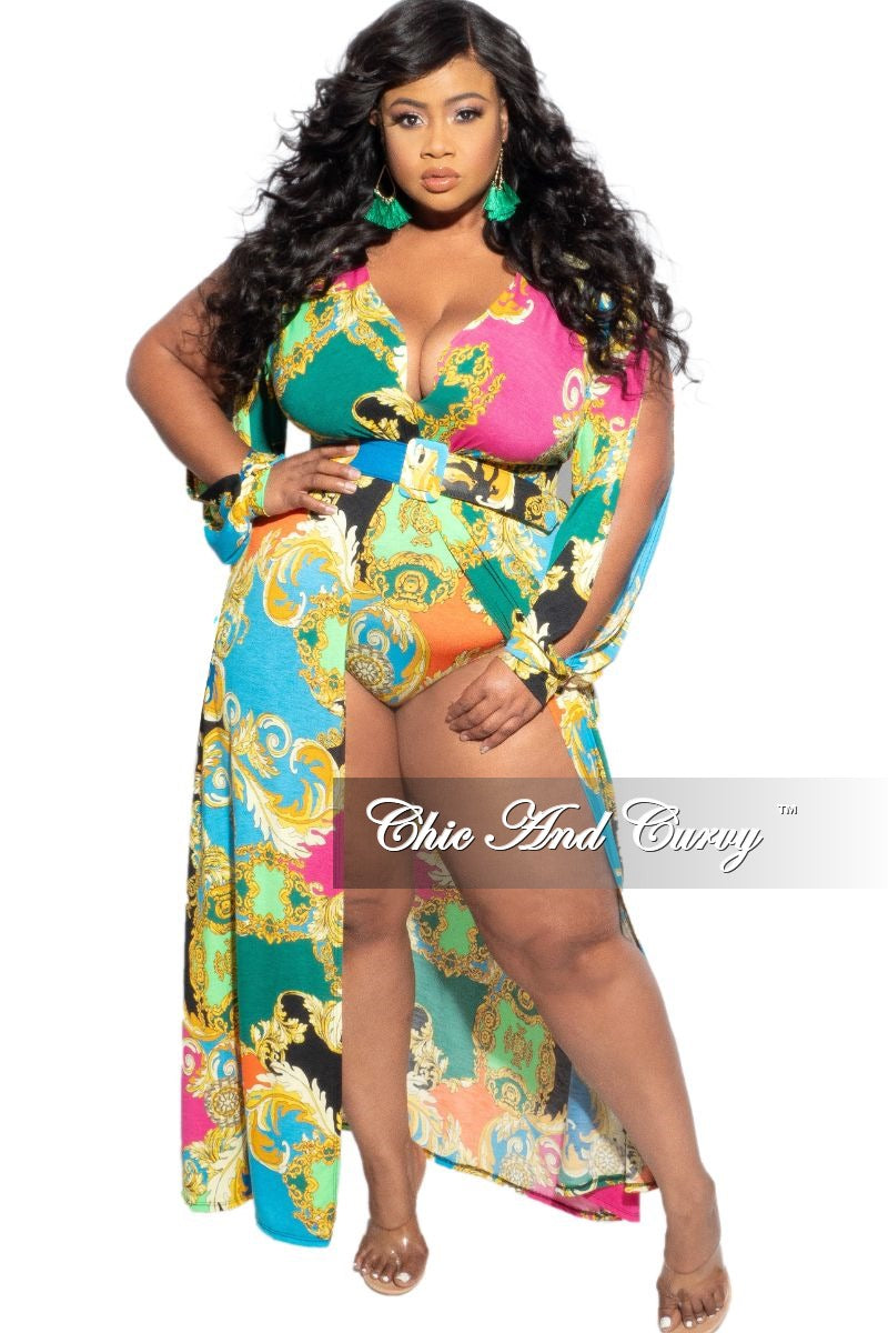 Final Sale Plus Size Slit Arm Faux Wrap Dress with Briefs in Multicolor Print