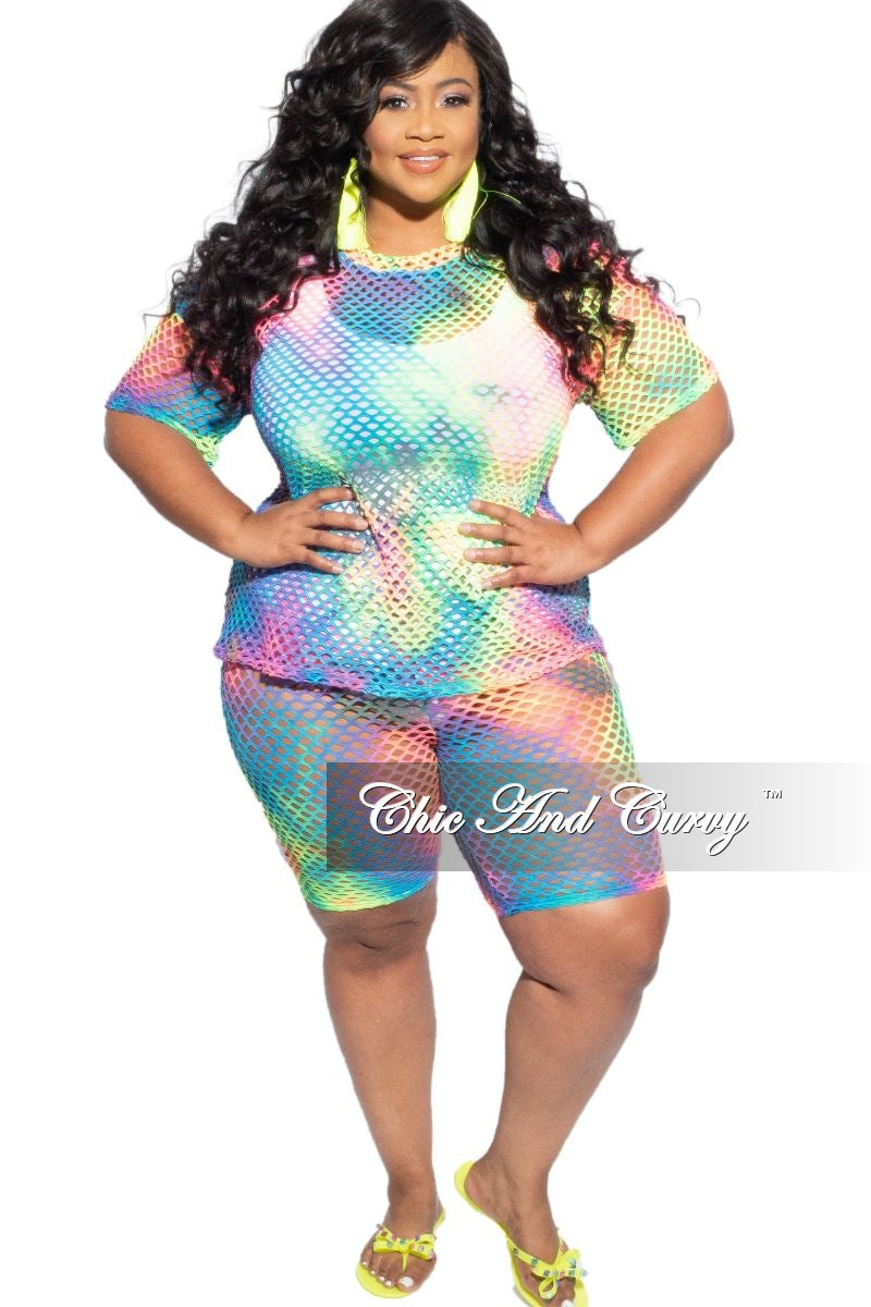 Final Sale Plus Size 2-Piece Net Top and Short Set in Multi Color Tie Dye Print