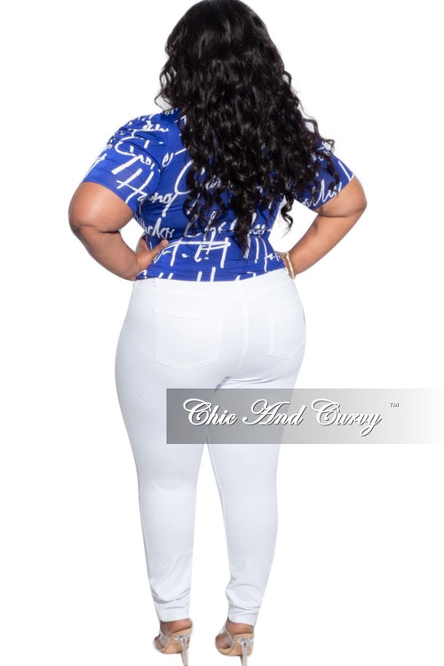 New Plus Size Signature Top in Royal Blue & White Print