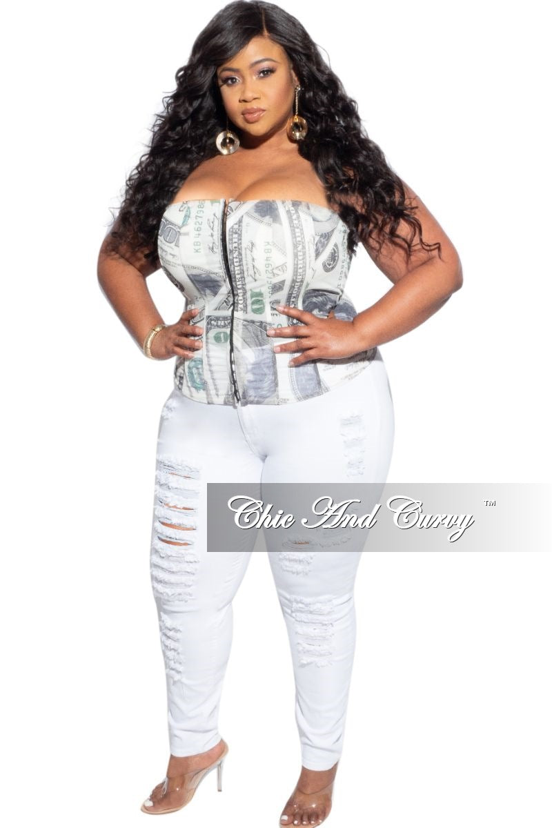 Final Sale Plus Size Strapless Money Corset Top