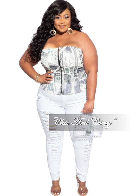 Final Sale Plus Size Distressed Jeans in White
