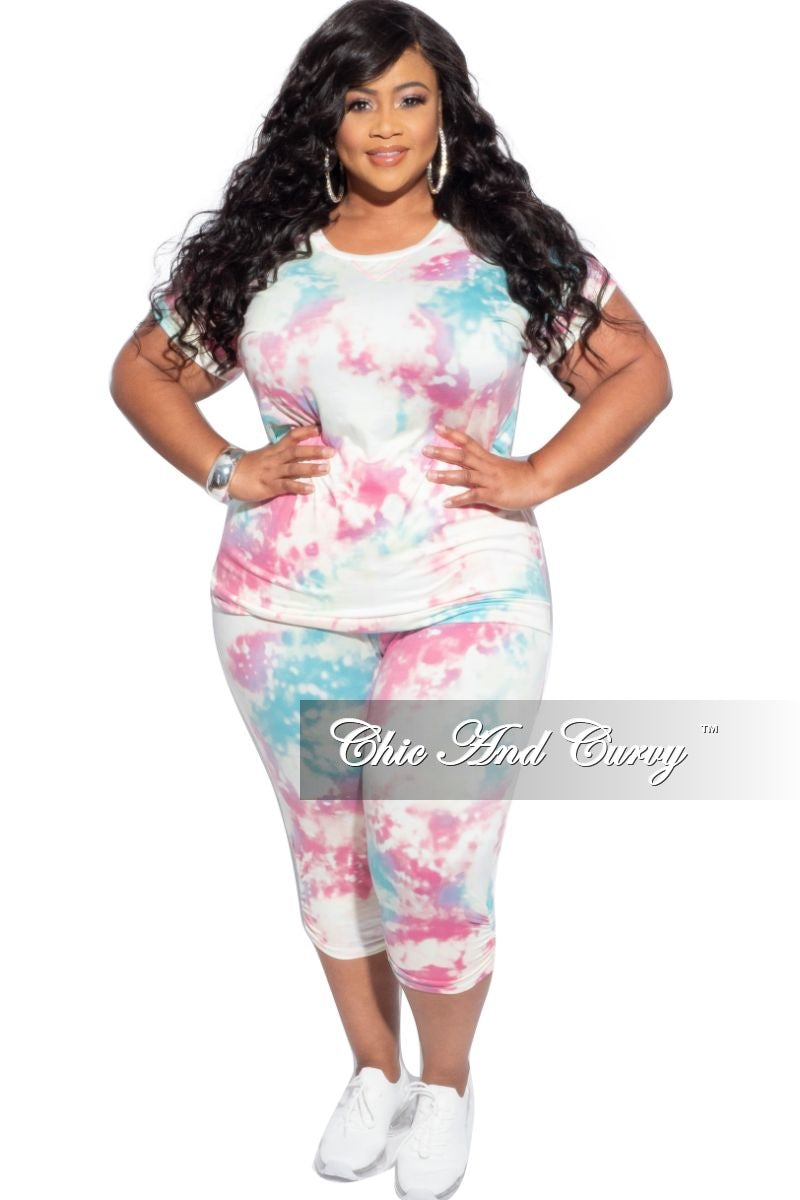 Final Sale Plus Size 2-Piece Jogger Set in Pink & Yellow Tie Dye