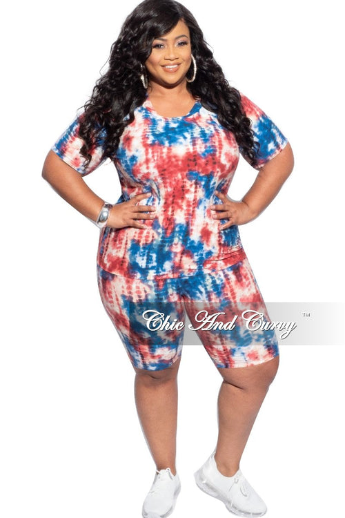 New Final Sale Plus Size 2-Piece (T-Shirt & Bermuda Short) Set in Blue & Rust Tie Dye